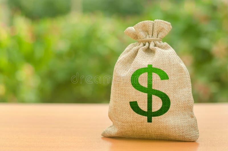 与美元标志的金钱袋子在自然背景 事务,预算,金融交易暂停 吸引投资 免版税图库摄影