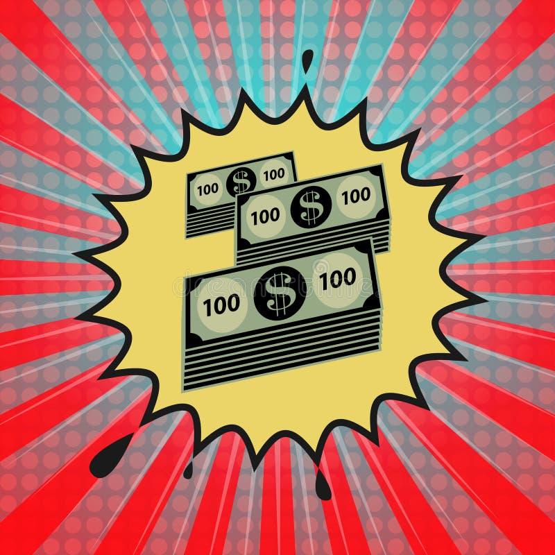 与美元现金金钱标志的可笑的爆炸 皇族释放例证