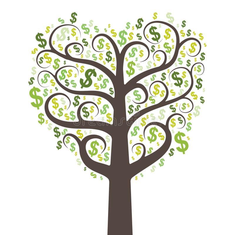 与美元的抽象货币结构树 库存例证