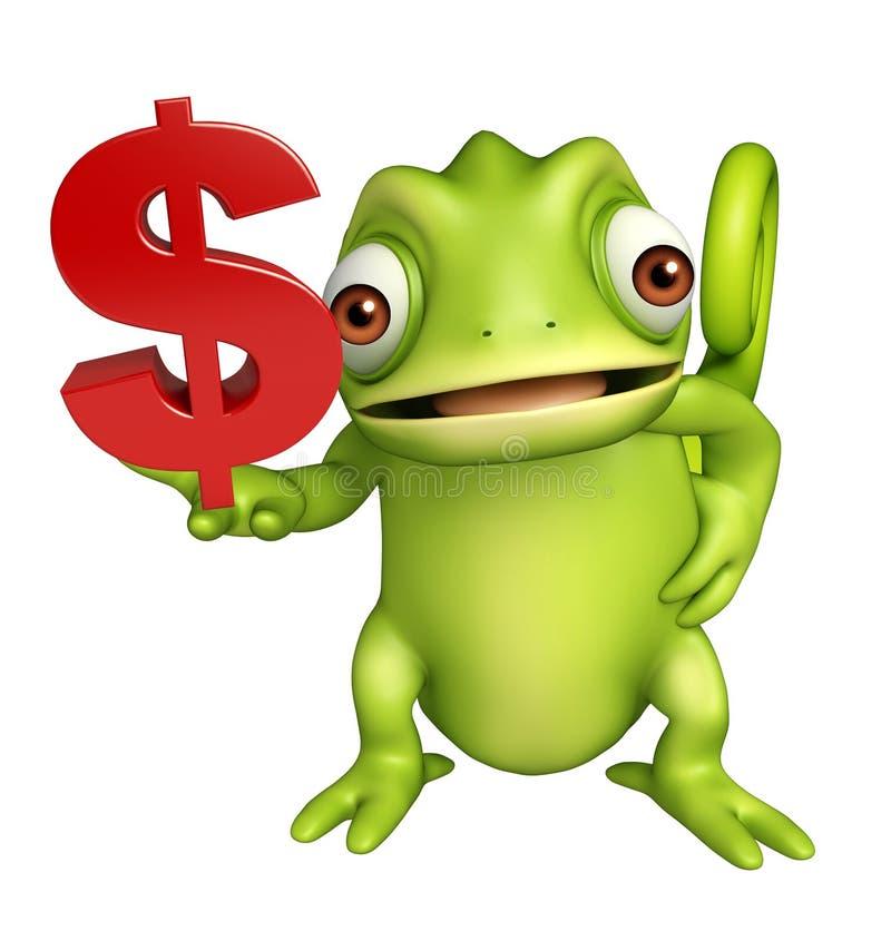 与美元的符号的逗人喜爱的变色蜥蜴漫画人物 向量例证