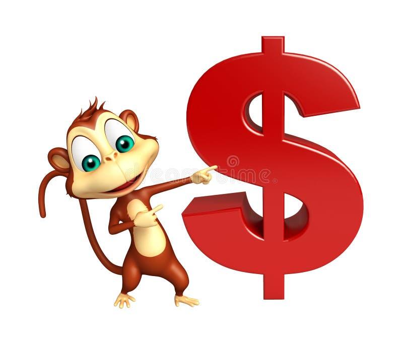 与美元的符号的逗人喜爱的猴子漫画人物 皇族释放例证