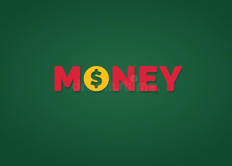 与美元的符号的金钱文本 库存例证