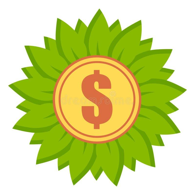 与美元的符号象的平,花卉硬币 叶子围拢的金币 皇族释放例证