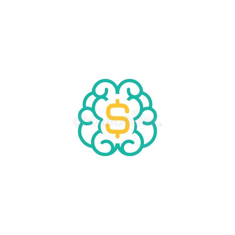 与美元的符号象的蓝线脑子 金钱phsychology,财政在白色隔绝的知识简单的图表 向量例证