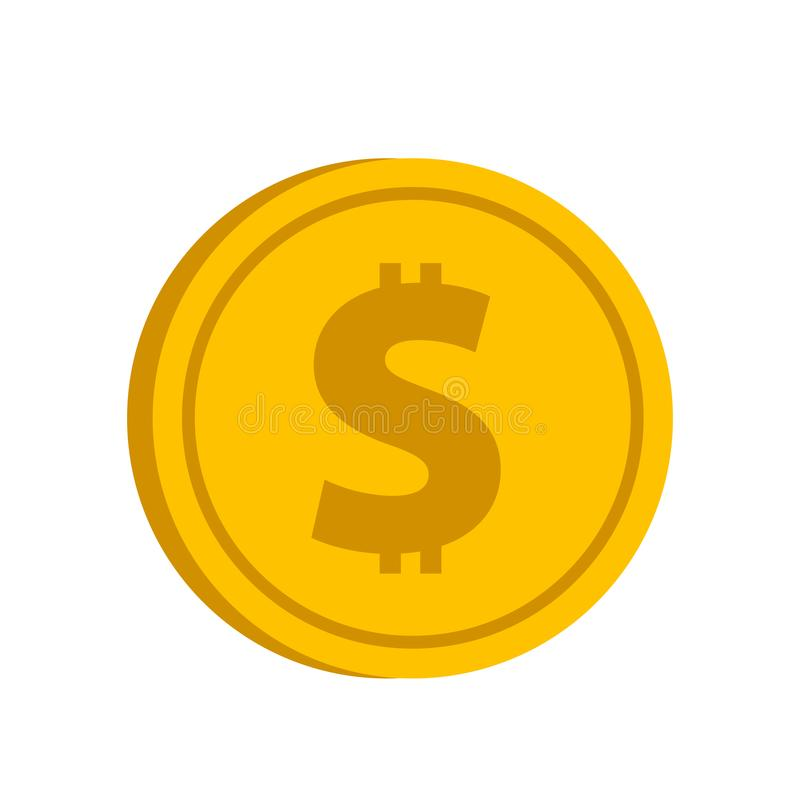 与美元的符号象的金币在一白色backgro的平的样式 向量例证