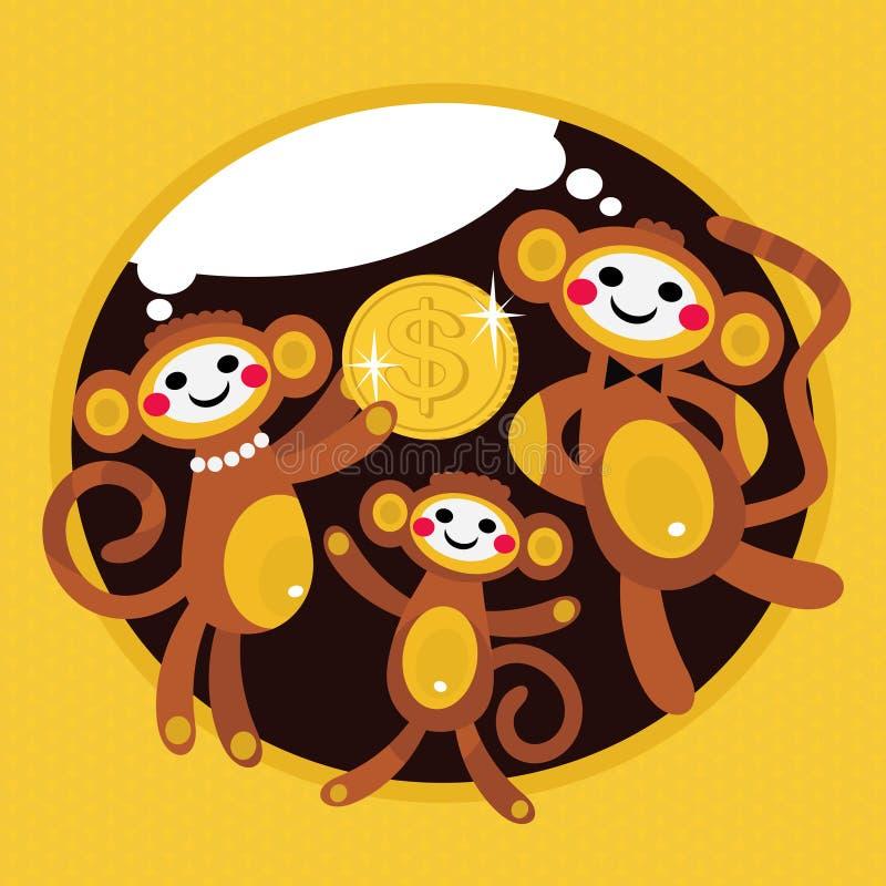与美元的猴子家庭。 皇族释放例证