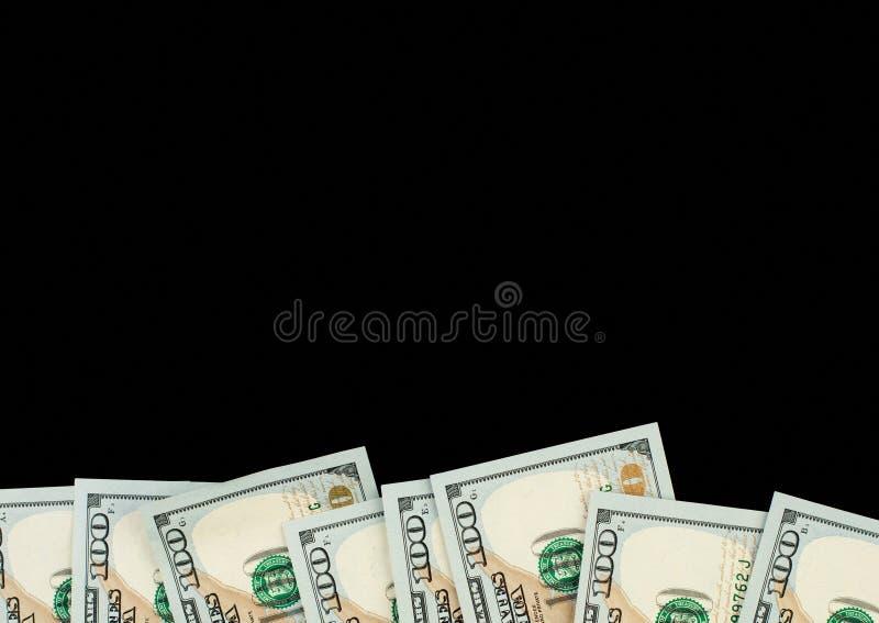 与美元金钱现金100钞票的黑板背景 免版税库存图片