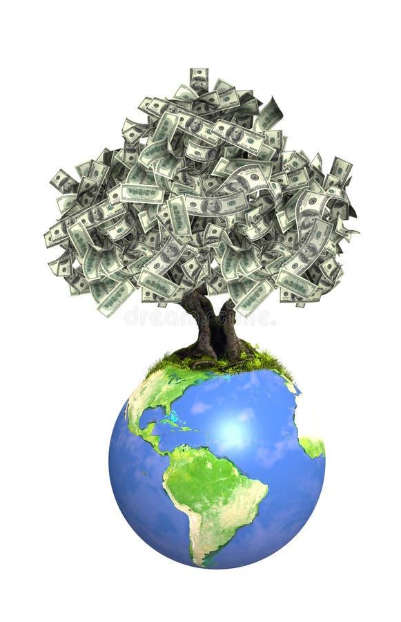 与美元钞票的金钱树地球上 向量例证