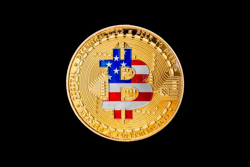 与美利坚合众国旗子的金黄bitcoin在cen中 库存图片
