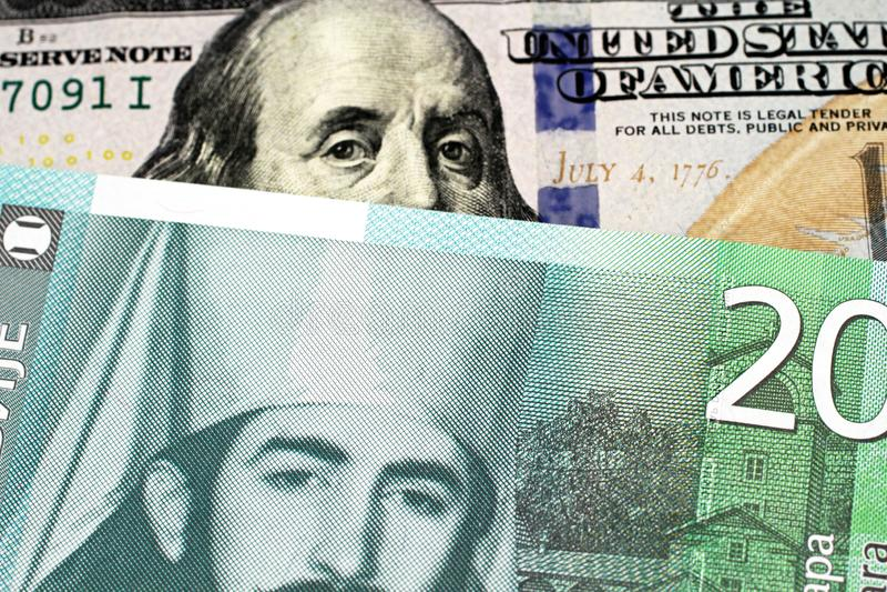 与美国一百元钞票的二十塞尔维亚丁那钞票 库存图片