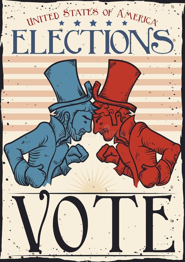 与美国传统党竞争者的减速火箭的海报,传染媒介例证 库存例证