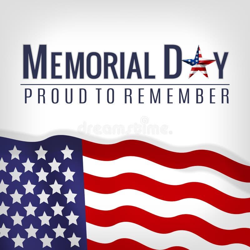 与美国国旗、星条旗的阵亡将士纪念日背景 阵亡将士纪念日邀请的,问候模板 免版税库存照片