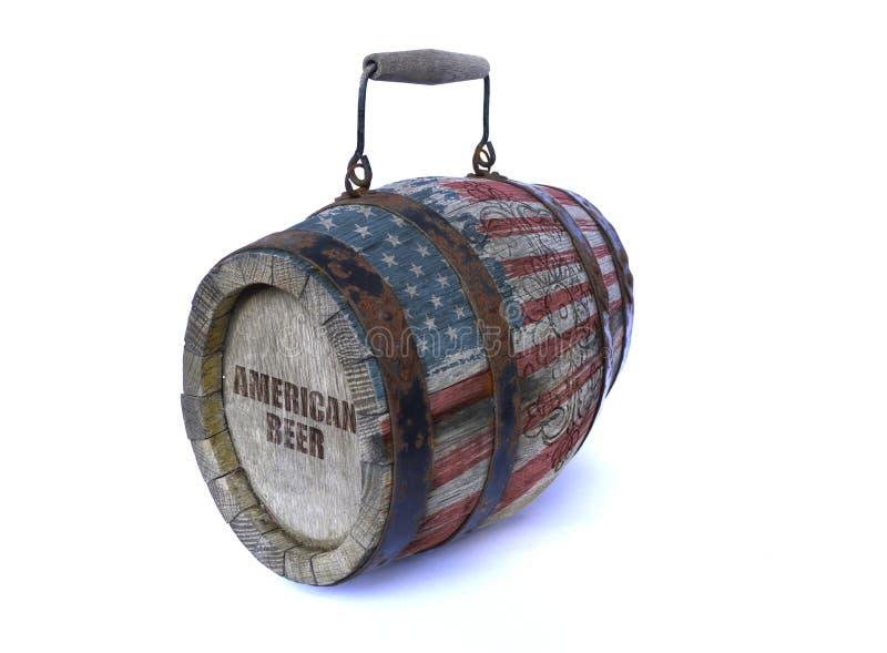 与美国国旗和题字美国人啤酒的木桶 库存照片