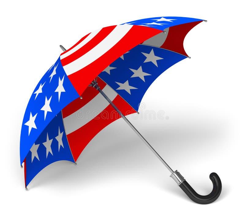 与美国国旗的伞 皇族释放例证
