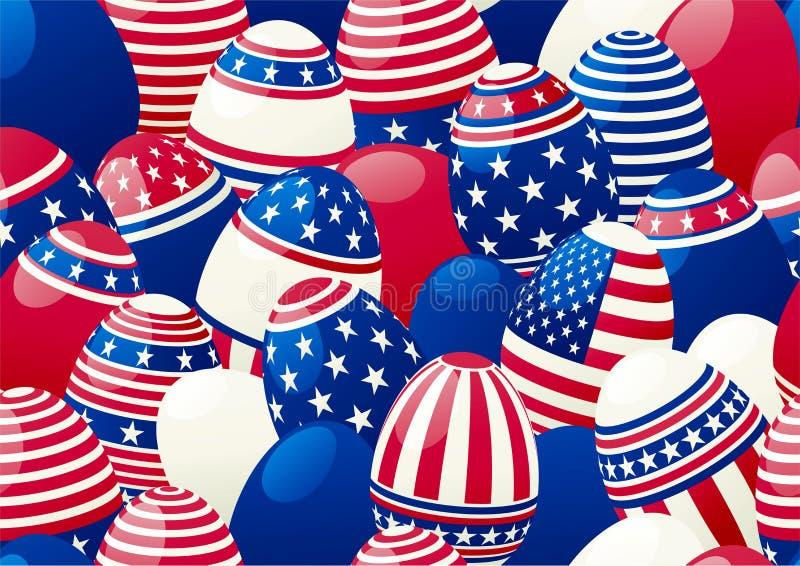 与美国国旗的复活节彩蛋 库存例证