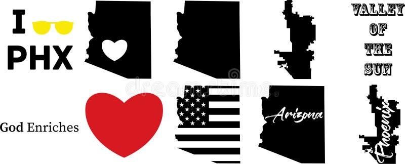 与美国国旗的菲尼斯亚利桑那美国地图 皇族释放例证