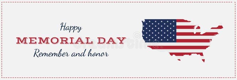 与美国地图的愉快的阵亡将士纪念日 与旗子和地图的贺卡 全国美国假日事件 平的传染媒介例证EPS10 向量例证