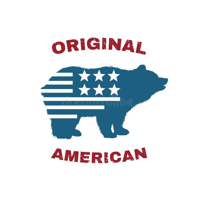 与美国旗子传染媒介例证的熊商标 向量例证