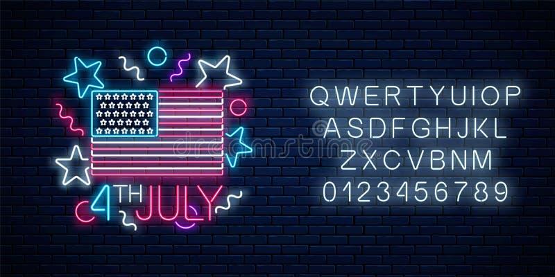 与美国旗子和字母表的美国独立日发光的霓虹灯广告 7月4日假日横幅 库存例证