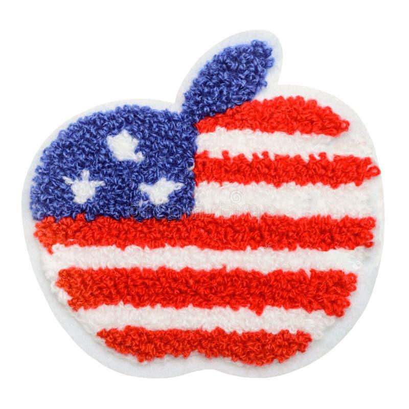 与美国旗子的苹果计算机 免版税库存照片