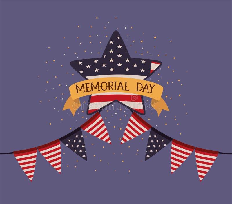 与美国旗子的阵亡将士纪念日象征星和诗歌选  库存例证