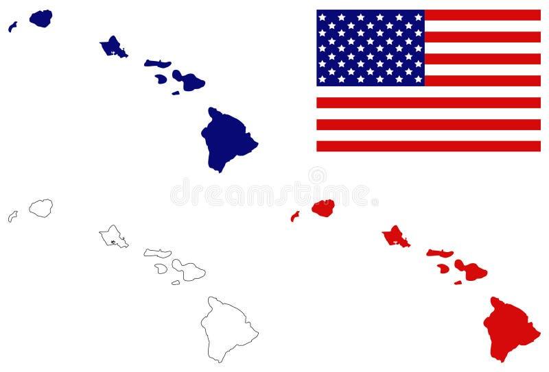与美国旗子- U的夏威夷地图 S 位于大洋洲的状态 向量例证