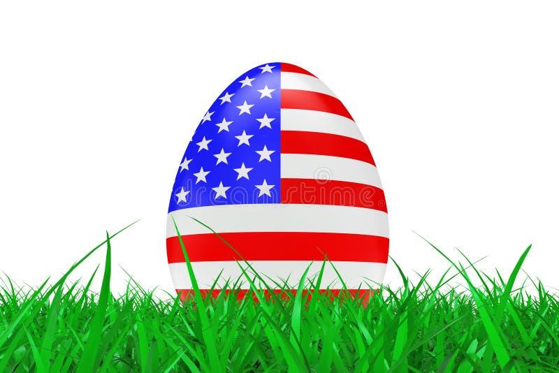 与美国的旗子的复活节彩蛋绿草的 3d翻译 库存例证