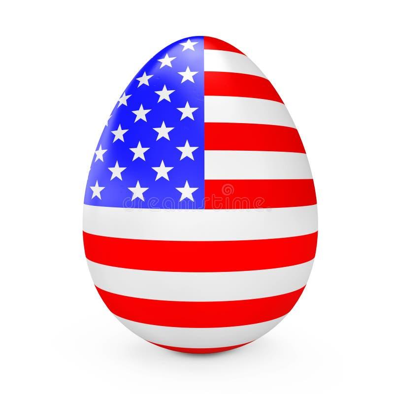 与美国的旗子的复活节彩蛋 3d翻译 向量例证