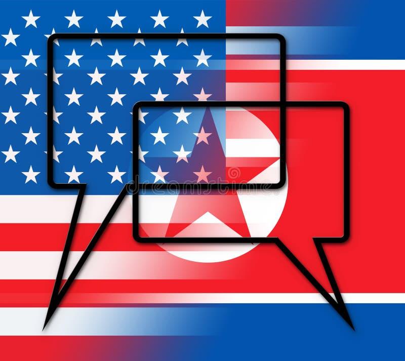 与美国3d例证的北朝鲜的和平谈判 向量例证