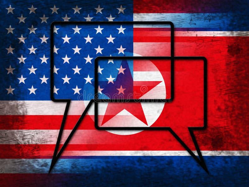 与美国3d例证的北朝鲜的和平谈判 皇族释放例证