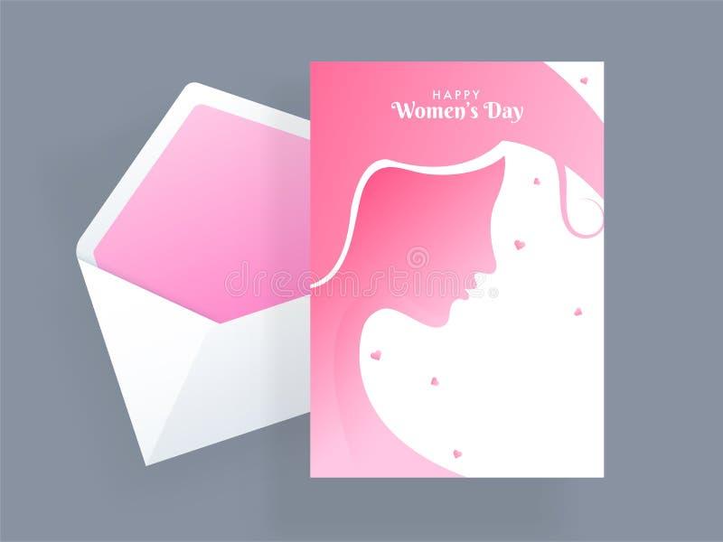 与美女面孔的例证的愉快的妇女天庆祝贺卡设计 向量例证