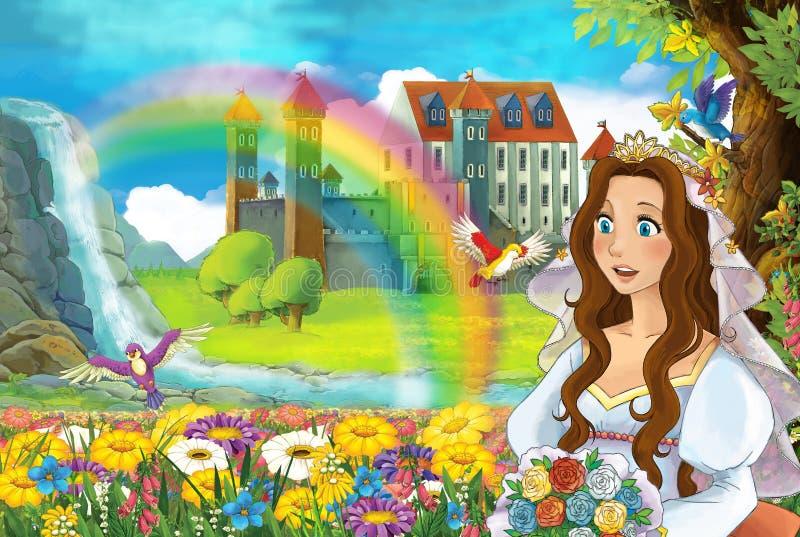 与美好的对的动画片场面马放出彩虹,并且背景少女新娘的宫殿观看并且微笑着 向量例证