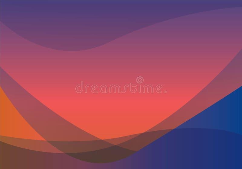 与美好的梯度的蓝色和橙色抽象波浪背景 库存例证