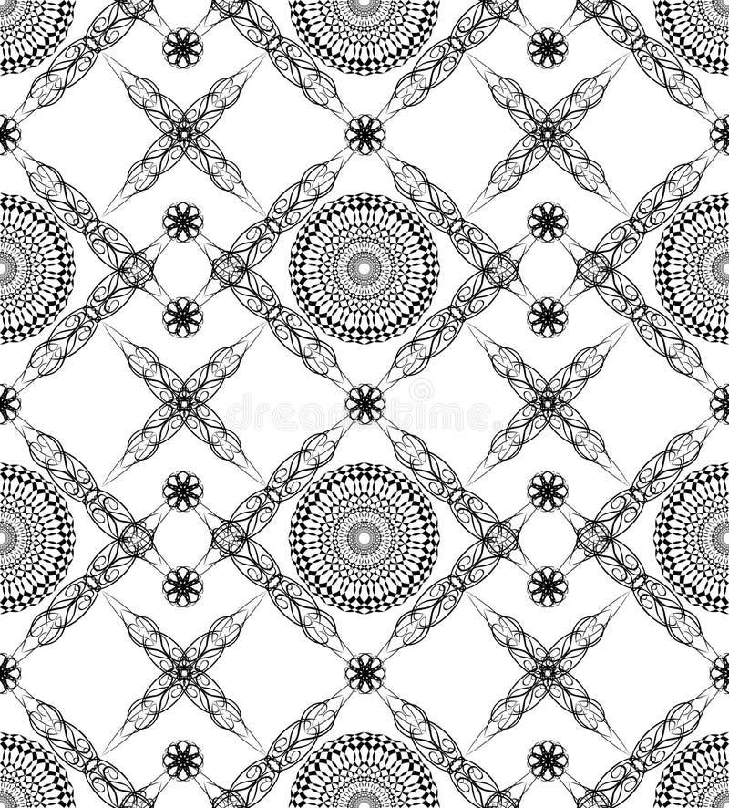 与美好的艺术装饰样式的无缝的背景在黑白 库存例证