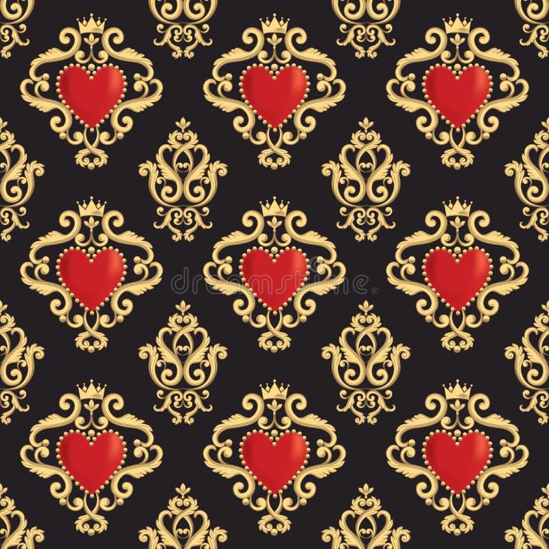 与美好的装饰红色心脏s的无缝的锦缎样式与在黑背景的冠 也corel凹道例证向量 向量例证