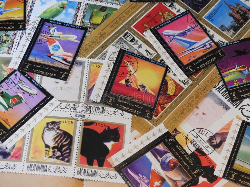 与美好的邮票的背景 库存照片