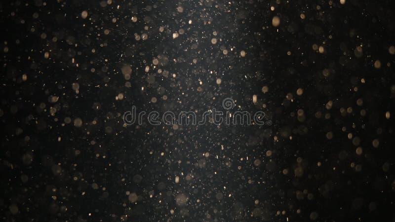 与美好的闪烁的微粒的抽象背景 在流程的水下的泡影与bokeh 免版税图库摄影