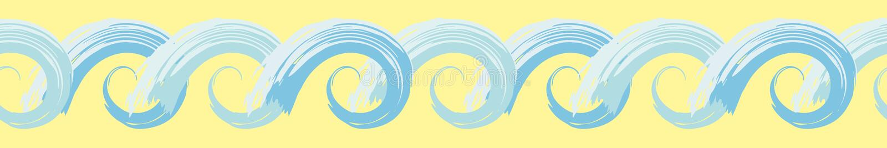 与美术的作用的手拉的蓝色风格化海浪边界 在晴朗的黄色的无缝的几何传染媒介样式 皇族释放例证