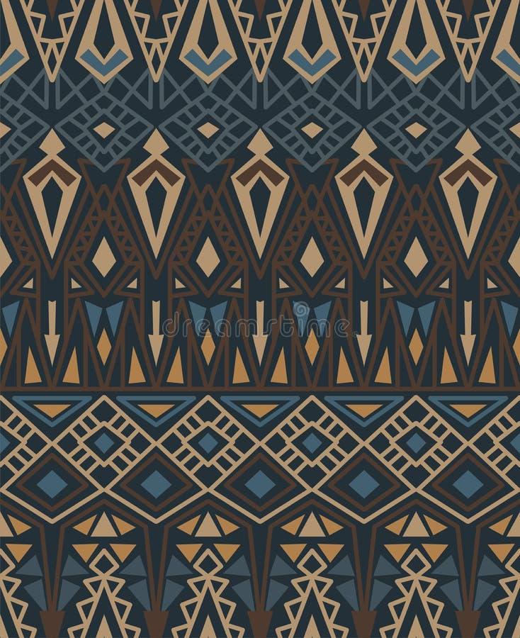 与美洲印第安人传统装饰品的种族无缝的样式在棕色颜色 部族的背景 向量例证