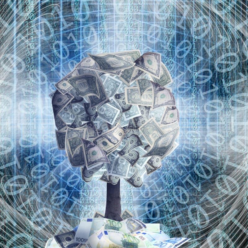 与美金的概念性金钱树在抽象结构l 库存例证