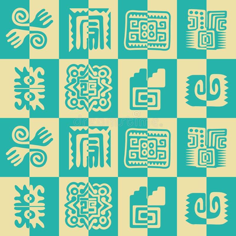 与美洲印第安人遗物dingbats字符的无缝的样式 库存例证