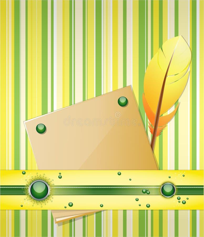 与羽毛和纸张的黄绿背景。 皇族释放例证