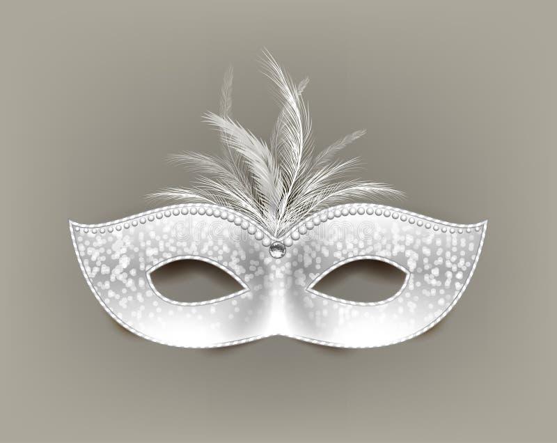 与羽毛和装饰的普遍狂欢节面具 皇族释放例证