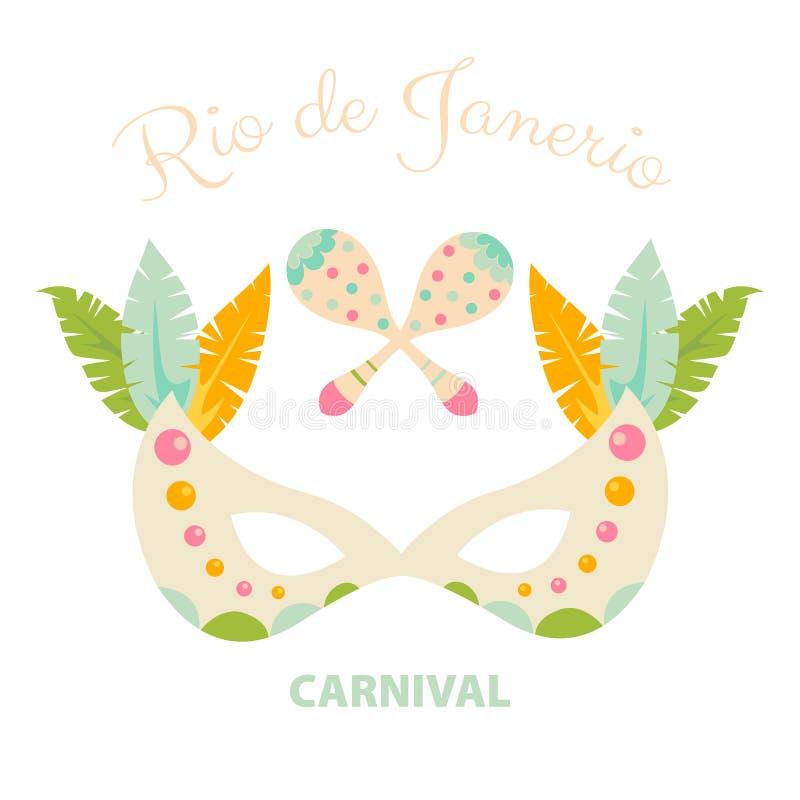 与羽毛和maracas的狂欢节面具 皇族释放例证