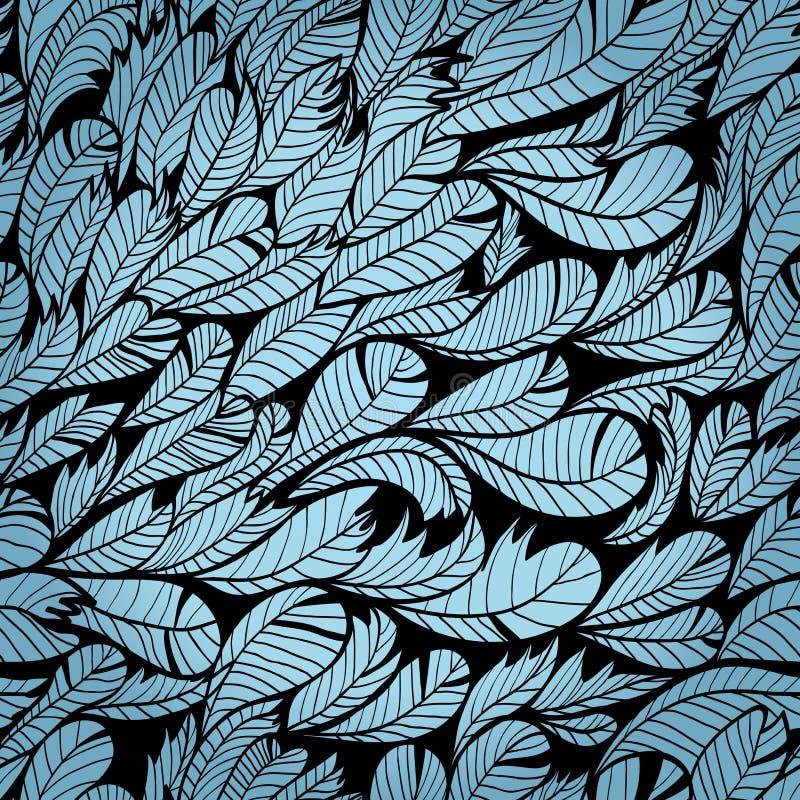 与羽毛的无缝的蓝色样式 皇族释放例证