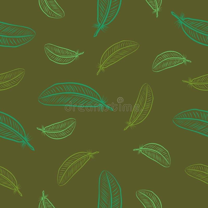 与羽毛的无缝的绿色样式 皇族释放例证