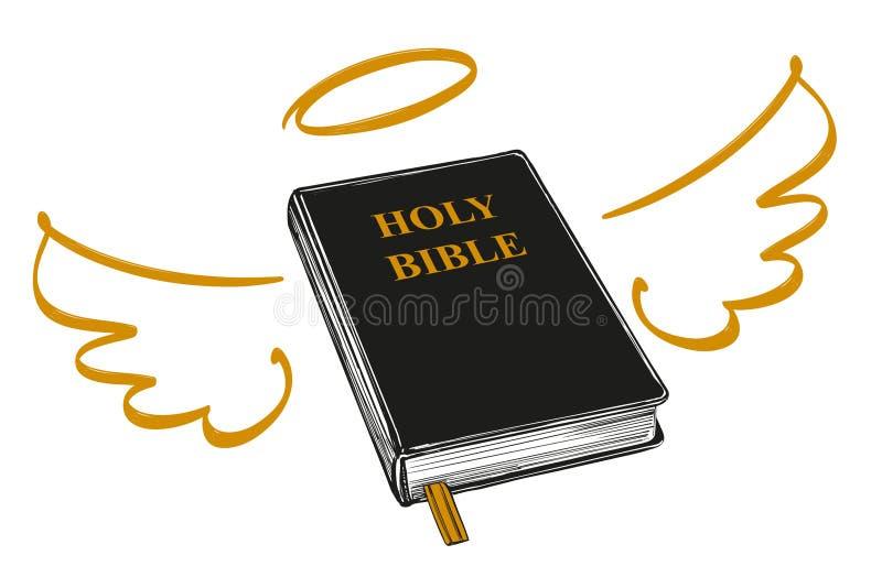 与翼和光晕福音书,基督教,基督教手拉的传染媒介的标志教条的圣经  库存例证
