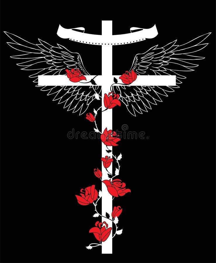 与翼的十字架 库存例证