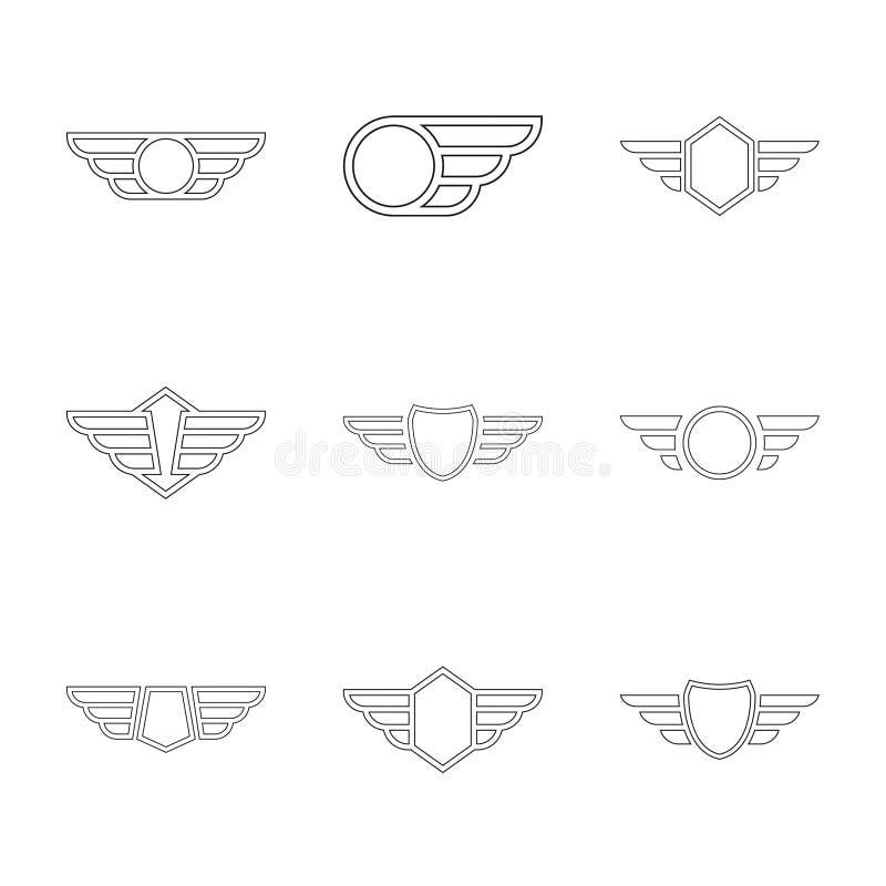 与翼的徽章 库存例证