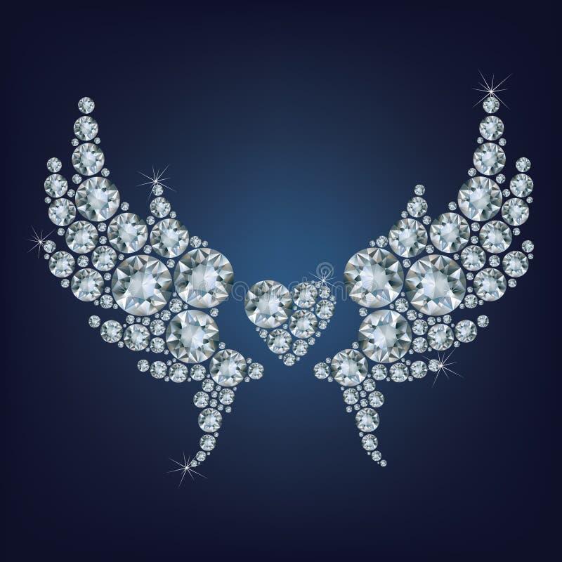 与翼的心脏做了很多金刚石 库存例证